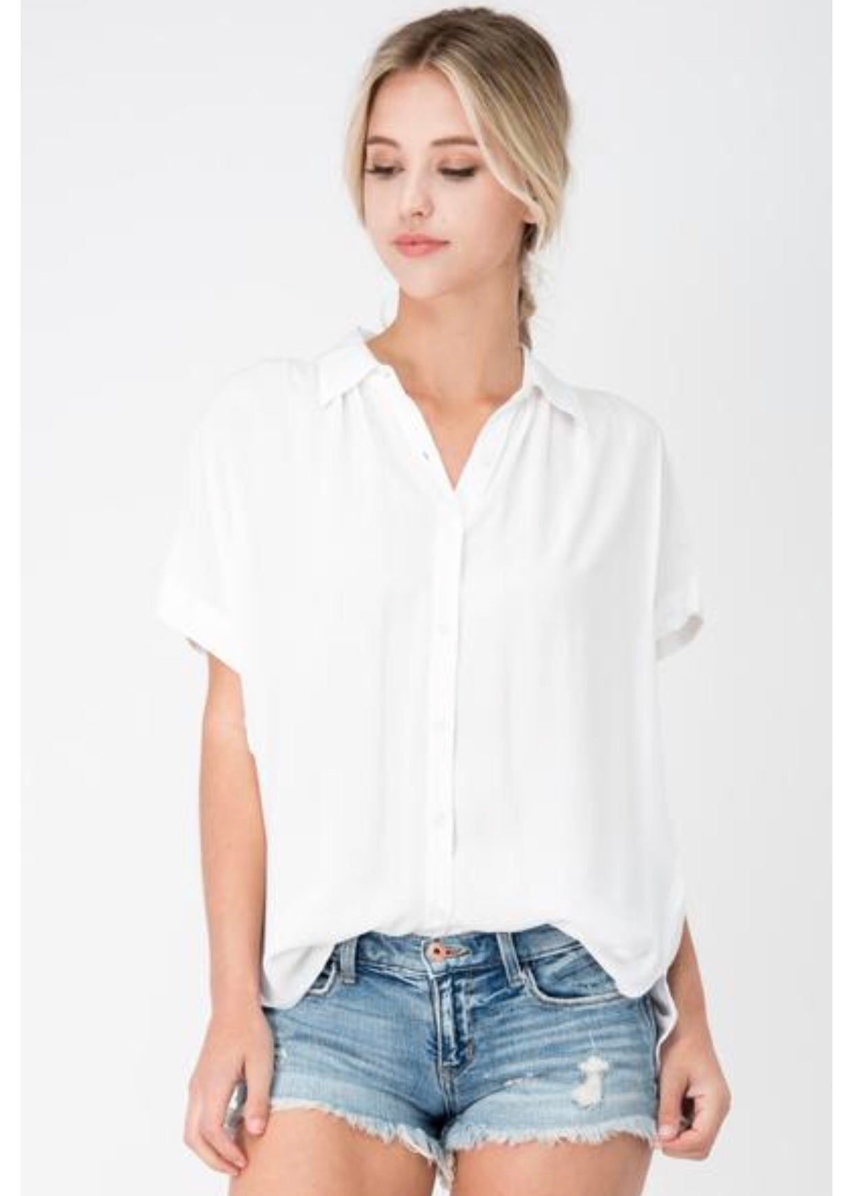 Sneak Peek White Short Sleeve Button Up With Cuffed Sleeve Detail | Cheeky Cactus