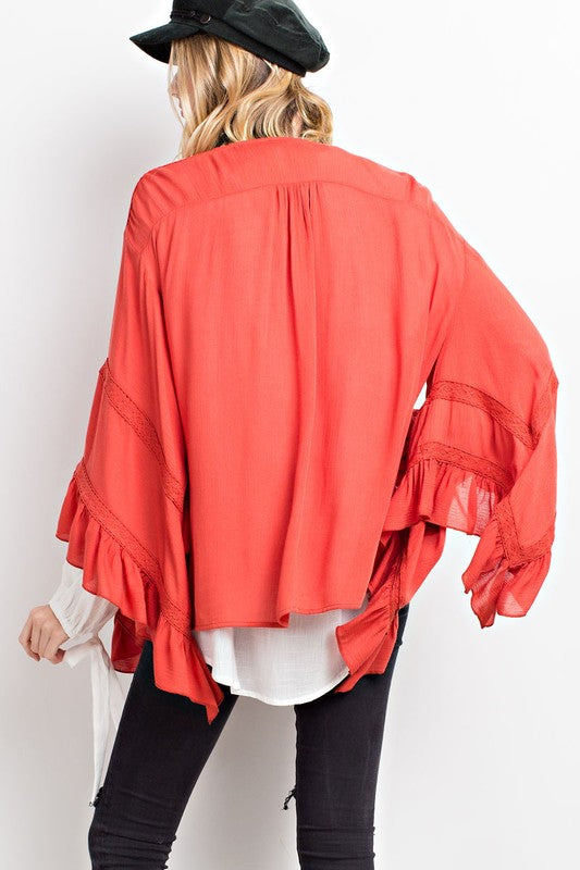 Crimson Short Kimono With Bell Sleeve and Front Tie Detail | Cheeky Cactus