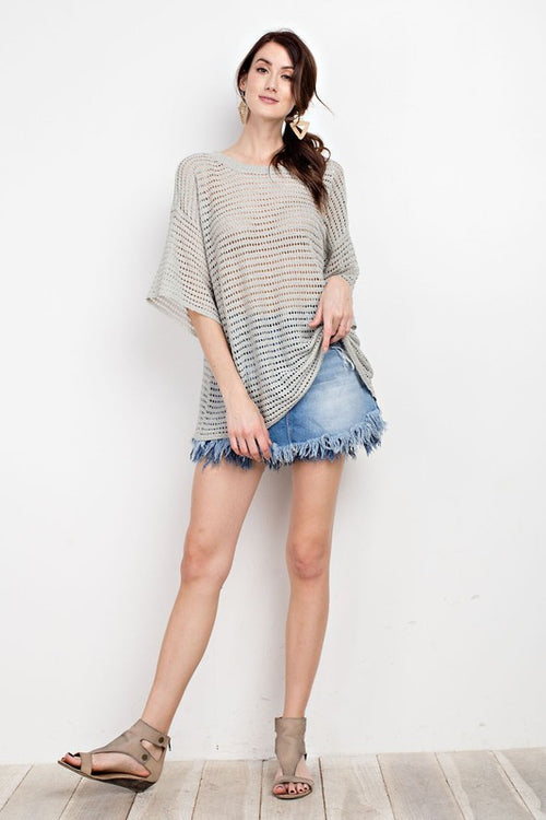Light Olive Crew Knit Crochet Top | Cheeky Cactus