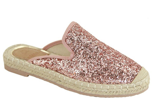Champagne Glitter Espadrille Slides | Cheeky Cactus