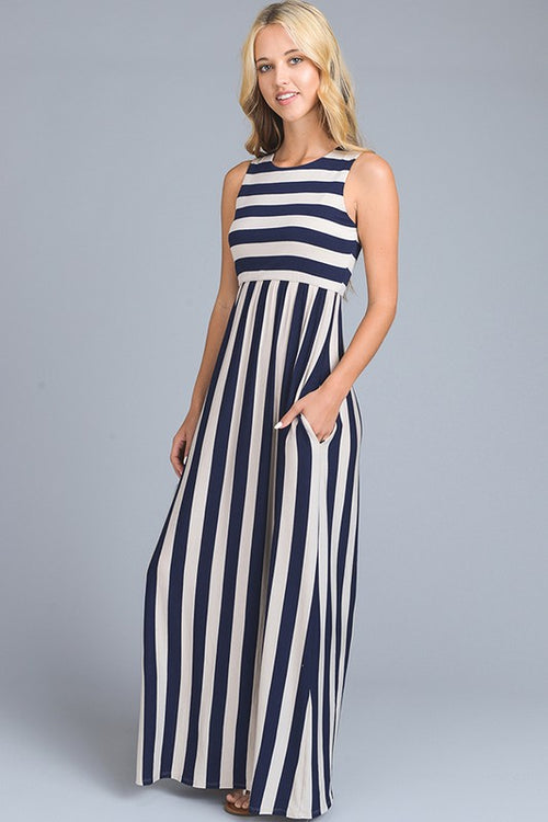 Navy Striped Maxi Dress With Pocket Feature | Cheeky Cactus