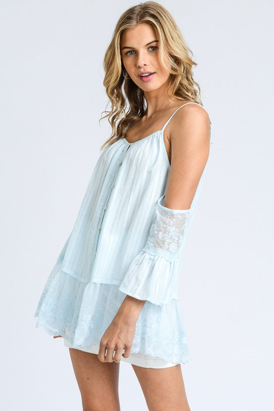 Lace Cold Shoulder Lace Top in sky blue | Cheeky Cactus