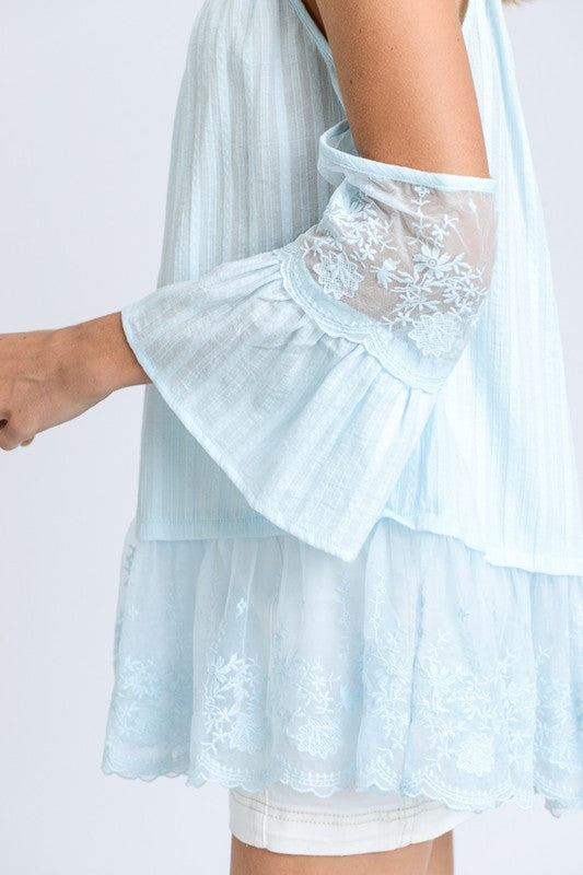 Romantic Lace Cold Shoulder Lace Top in sky blue | Cheeky Cactus