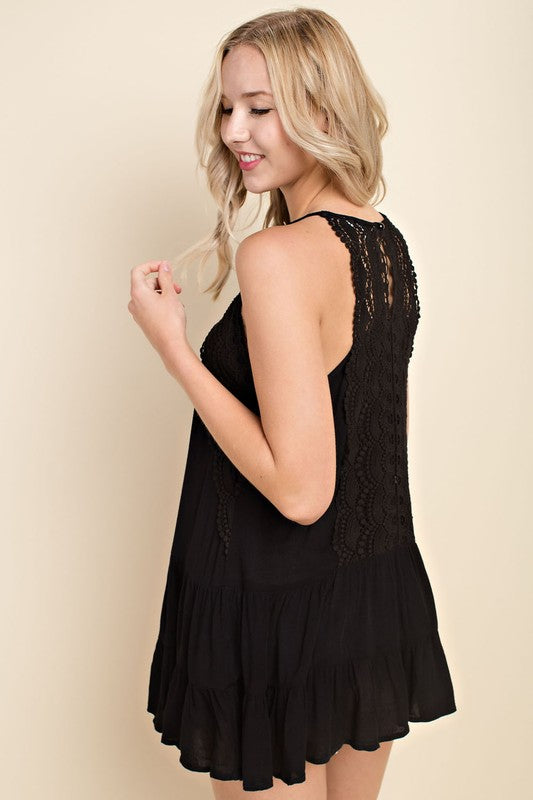Sleeveless Ruffle Top With Crochet Lace Keyhole Feature | Cheeky Cactus