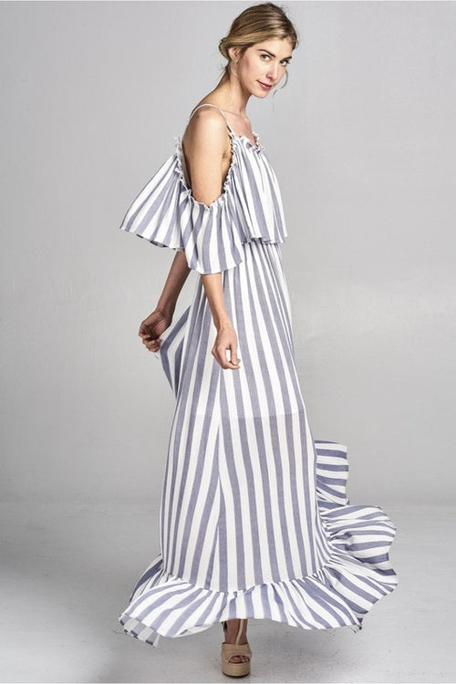 Wide Stripe Maxi Dress With Off The Shoulder Spaghetti Strap Bottom Ruffle Detail | Cheeky Cactus