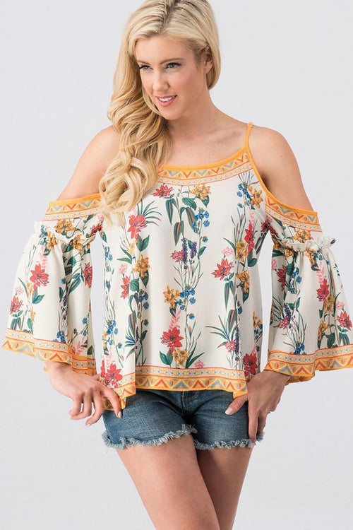 Boho Floral Border Print Off Shoulder woven top | Cheeky Cactus