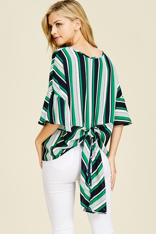 3/4 Bell Sleeve Navy, Kelly Green, White Striped Boat Neck With Feathering Back Detail | Cheeky Cactus