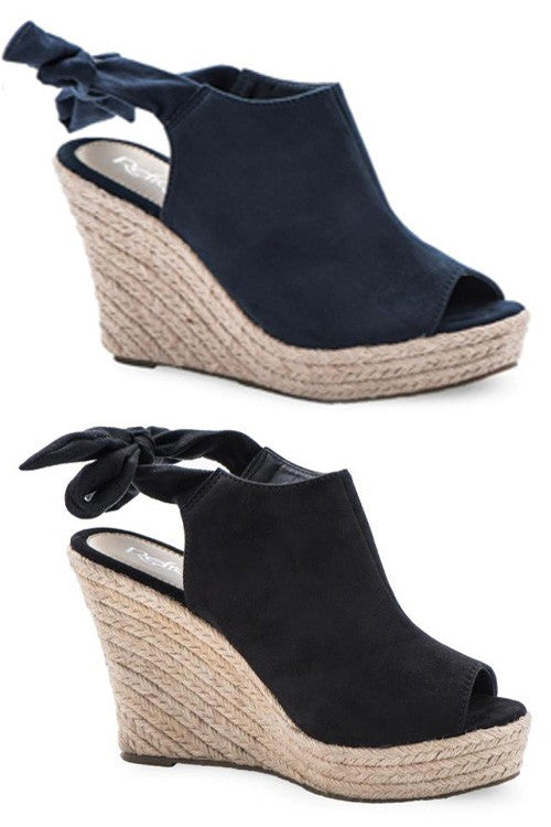 Black Bow-Tie Around Heel Wedge | Cheeky Cactus