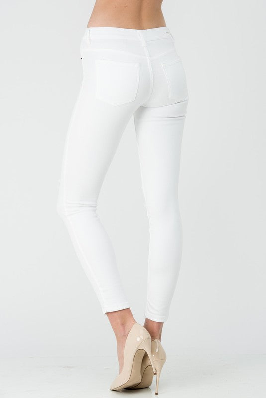 Sneak Peek White Mid-Rise Skinny Jeans with Knee Slit Leg Opening | Cheeky Cactus