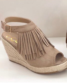 Fringe Taupe Wedge with side ankle buckle - Cheeky Cactus