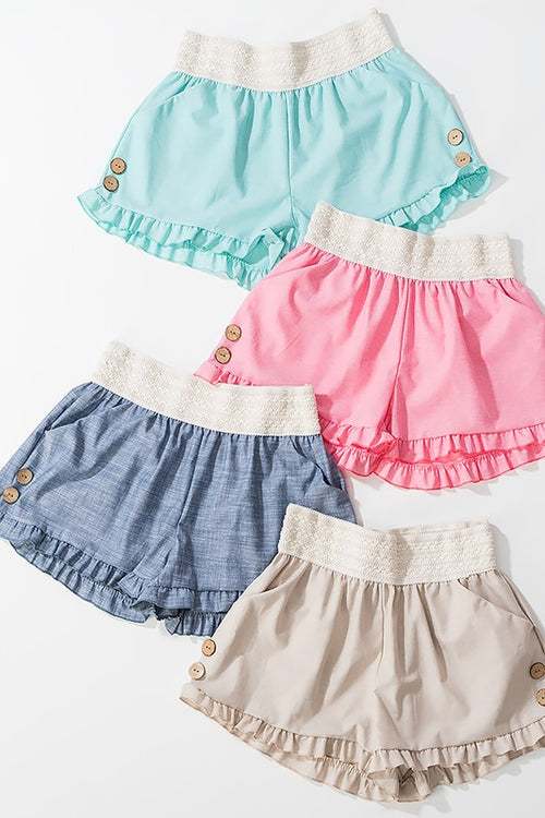 Chambray Ruffle Shorts With Button Detail On Side And Thick Elastic Band | Cheeky Cactus