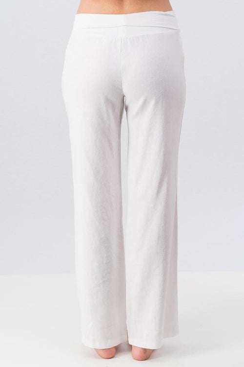 White Linen pant with cotton fold over waist | Cheeky Cactus