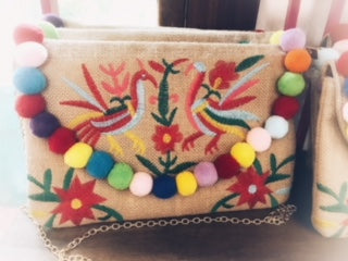 Cheeky Embroidered pom-pom clutch with detachable long chain | Cheeky Cactus