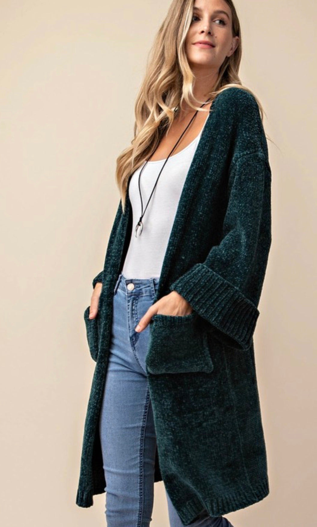 Hunter Green Chenille Long Cardigan | Cheeky Cactus