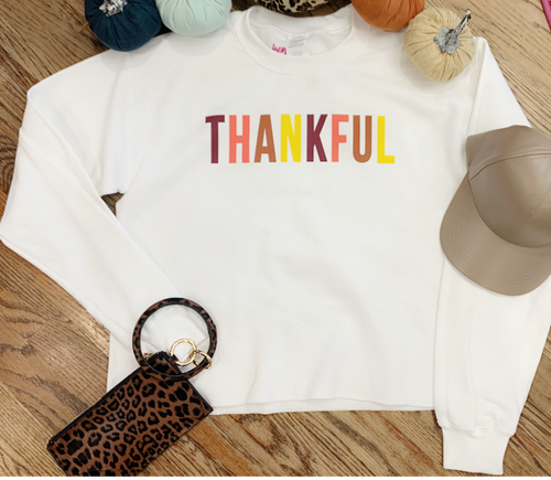 """Thankful"" Cropped Sweatshirt - Cheeky Cactus"