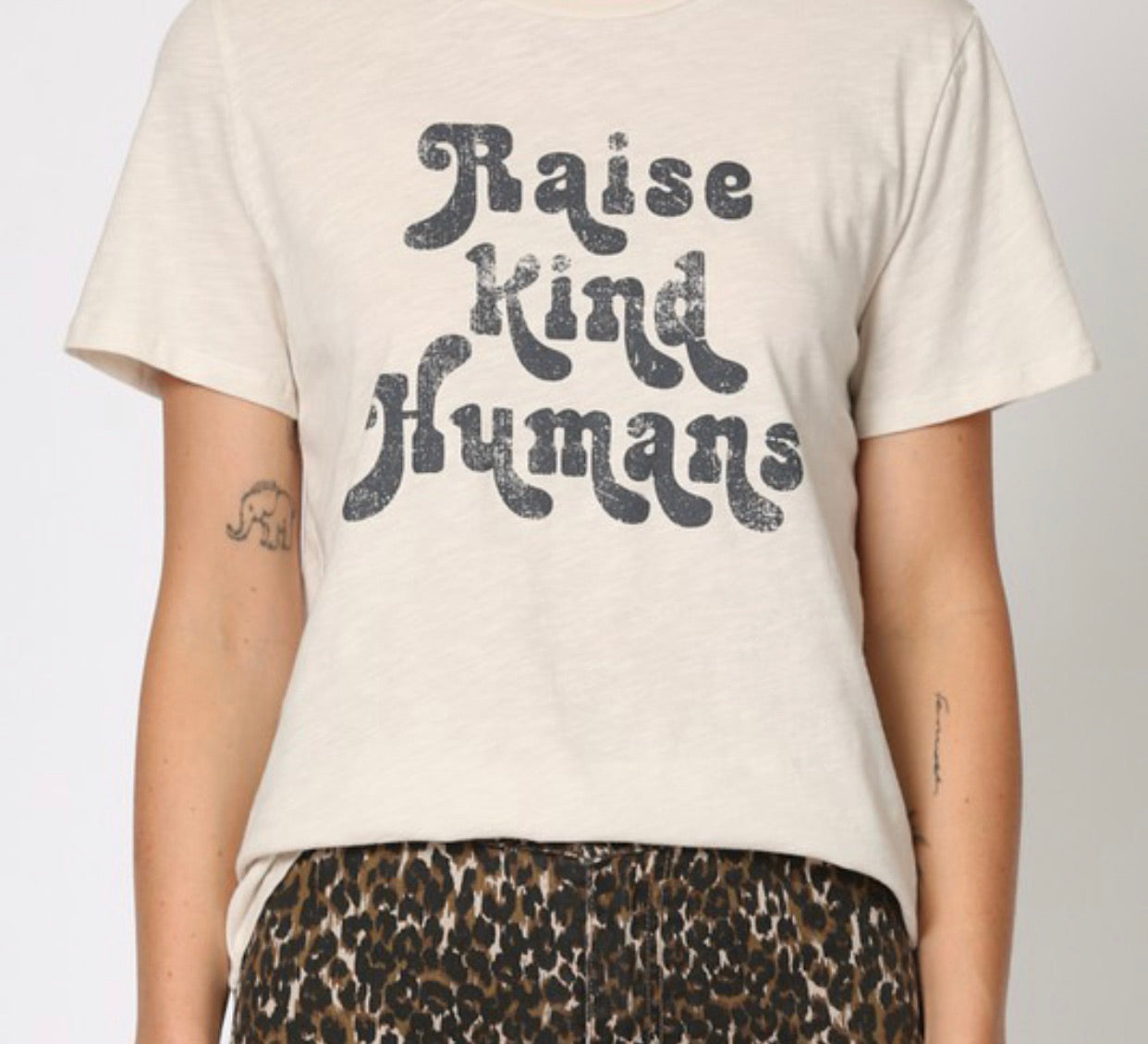 """Raise kind humans"" cotton jersey short sleeve top 