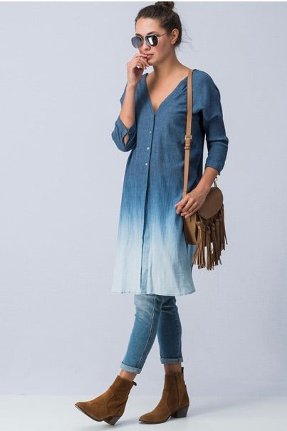 Ombré Button Down Tunic | Cheeky Cactus