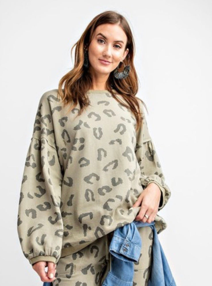 Leopard printed terry knit washed top with bubble sleeve | Cheeky Cactus