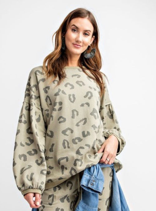 Leopard Printed Terry Knit Washed Top with Bubble Sleeve - Cheeky Cactus