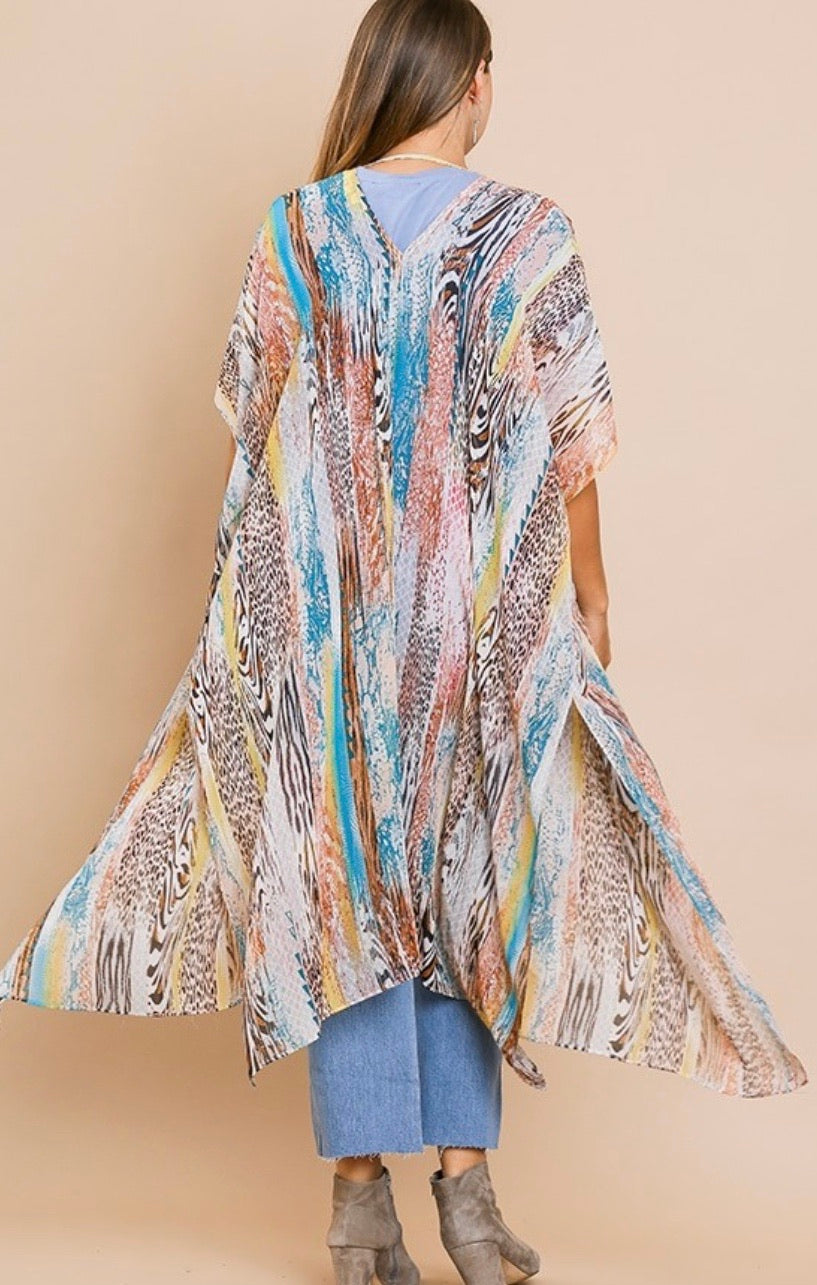 Multicolor animal print kimono with side slits | Cheeky Cactus