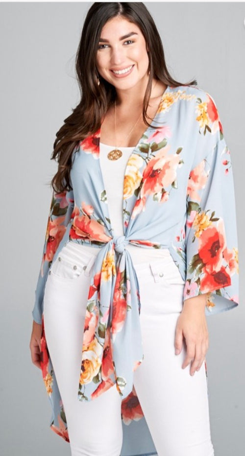 Dusty Blue & Coral open front floral Kimono | Cheeky Cactus