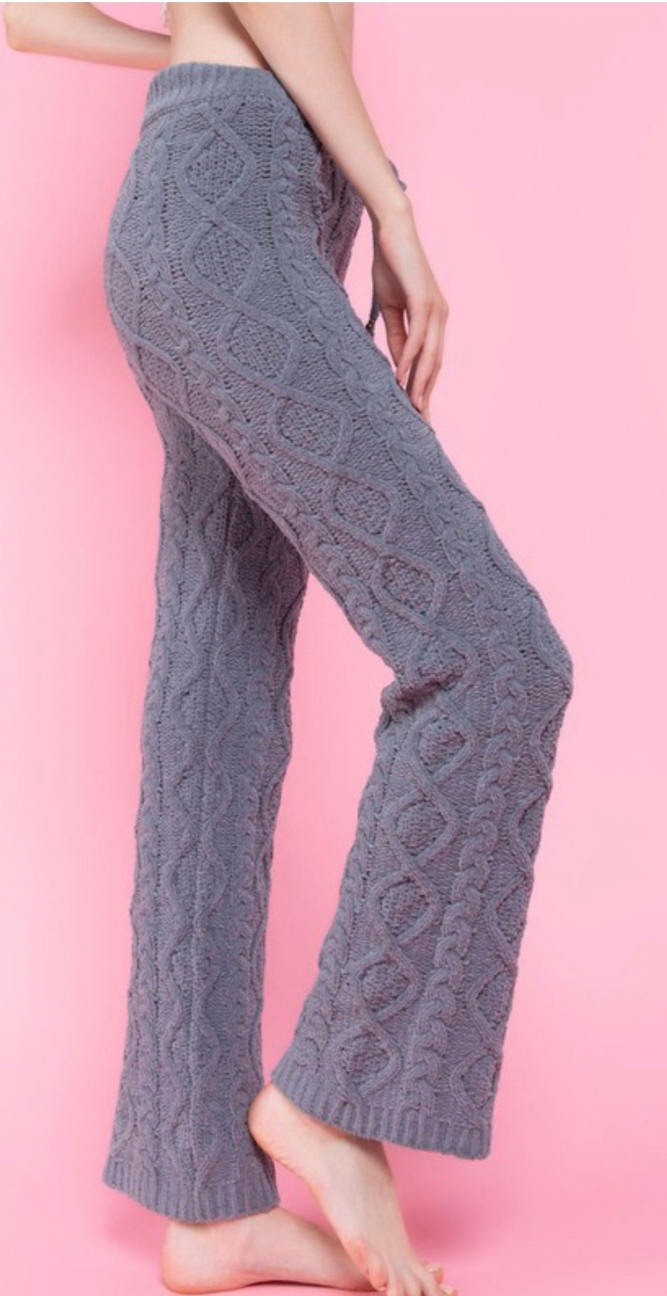 Berber Cable Knit Fleece Drawstring Waistband Pants - Cheeky Cactus