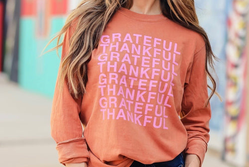 """Thankful Grateful"" Long Sleeve - Cheeky Cactus"
