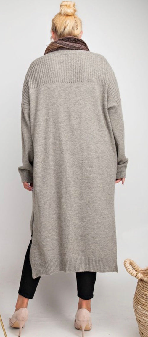 Heather Grey knitted maxi open cardigan
