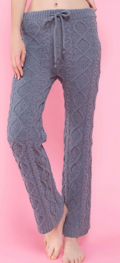 Berber Cable Knit Fleece Drawstring Waistband Pants | Cheeky Cactus