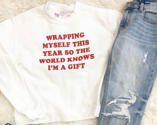 """Wrap Myself"" White Cropped Sweatshirt - Cheeky Cactus"
