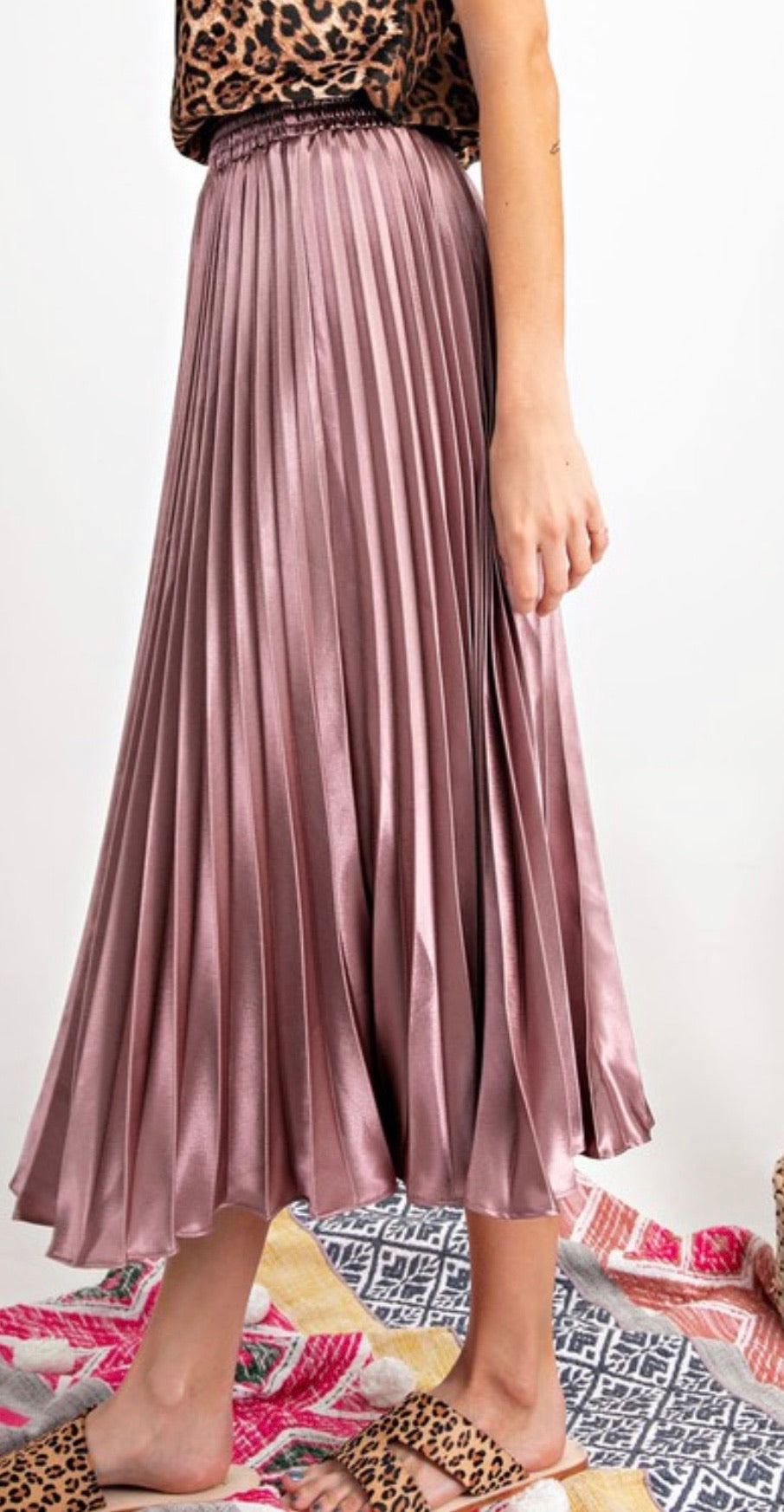 Rose pleated satin maxi skirt