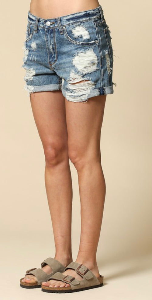 Distressed Mid-Rise Denim Boyfriend Shorts | Cheeky Cactus