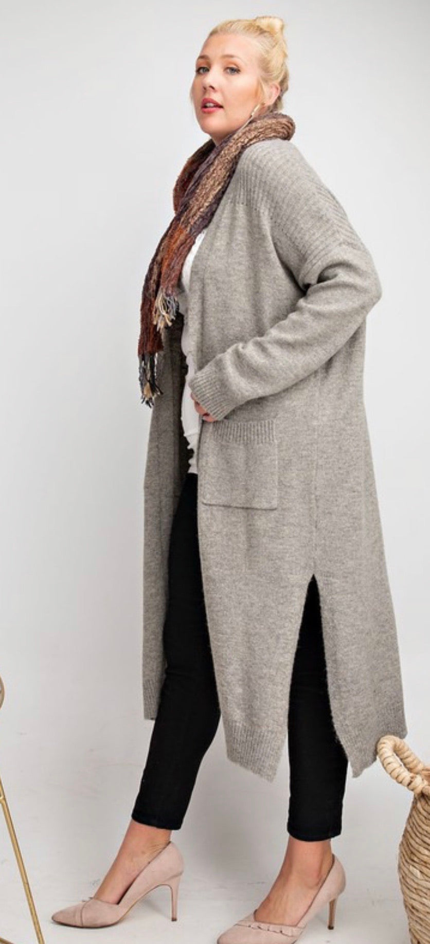 Heather Grey knitted maxi open cardigan | Cheeky Cactus