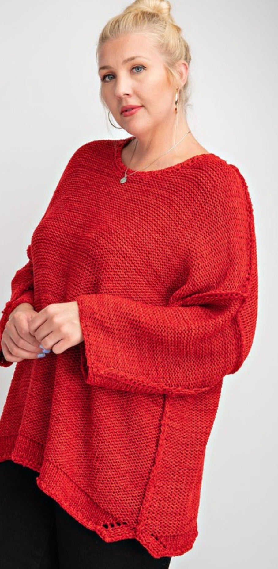 Scarlet red knitted boxy sweater | Cheeky Cactus