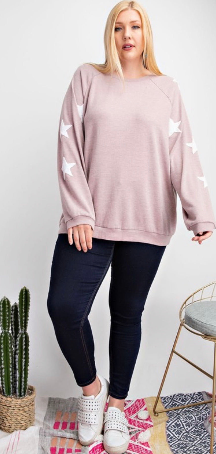 Rose knit with star patch sleeves | Cheeky Cactus
