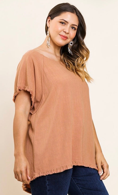 Canyon Clay round neck top with ruffle hem and ruffle sleeve | Cheeky Cactus