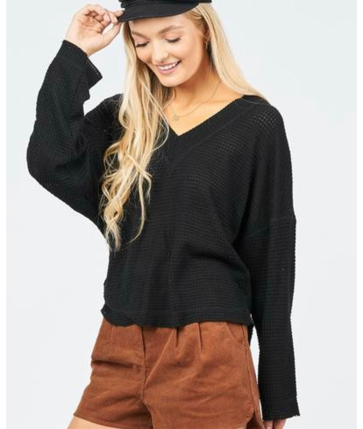 Waffle knit doube layered v-neck top with loose long sleeves | Cheeky Cactus