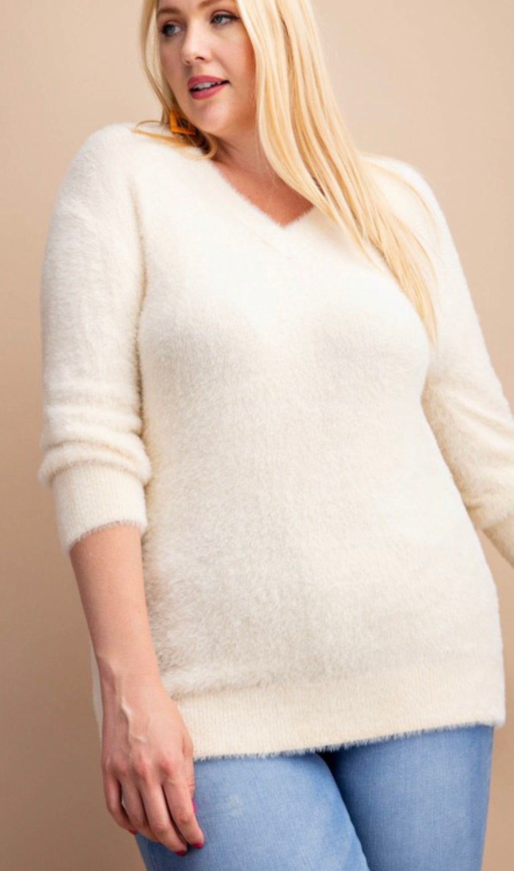 Soft fur knitted deep v-neck sweater