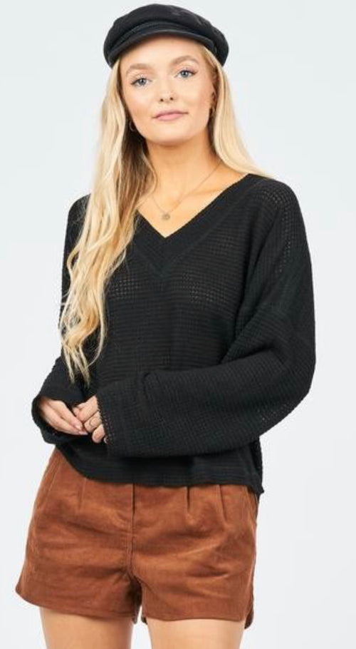 Waffle Knit Double Layered V-Neck Top with Loose Long Sleeves | Cheeky Cactus