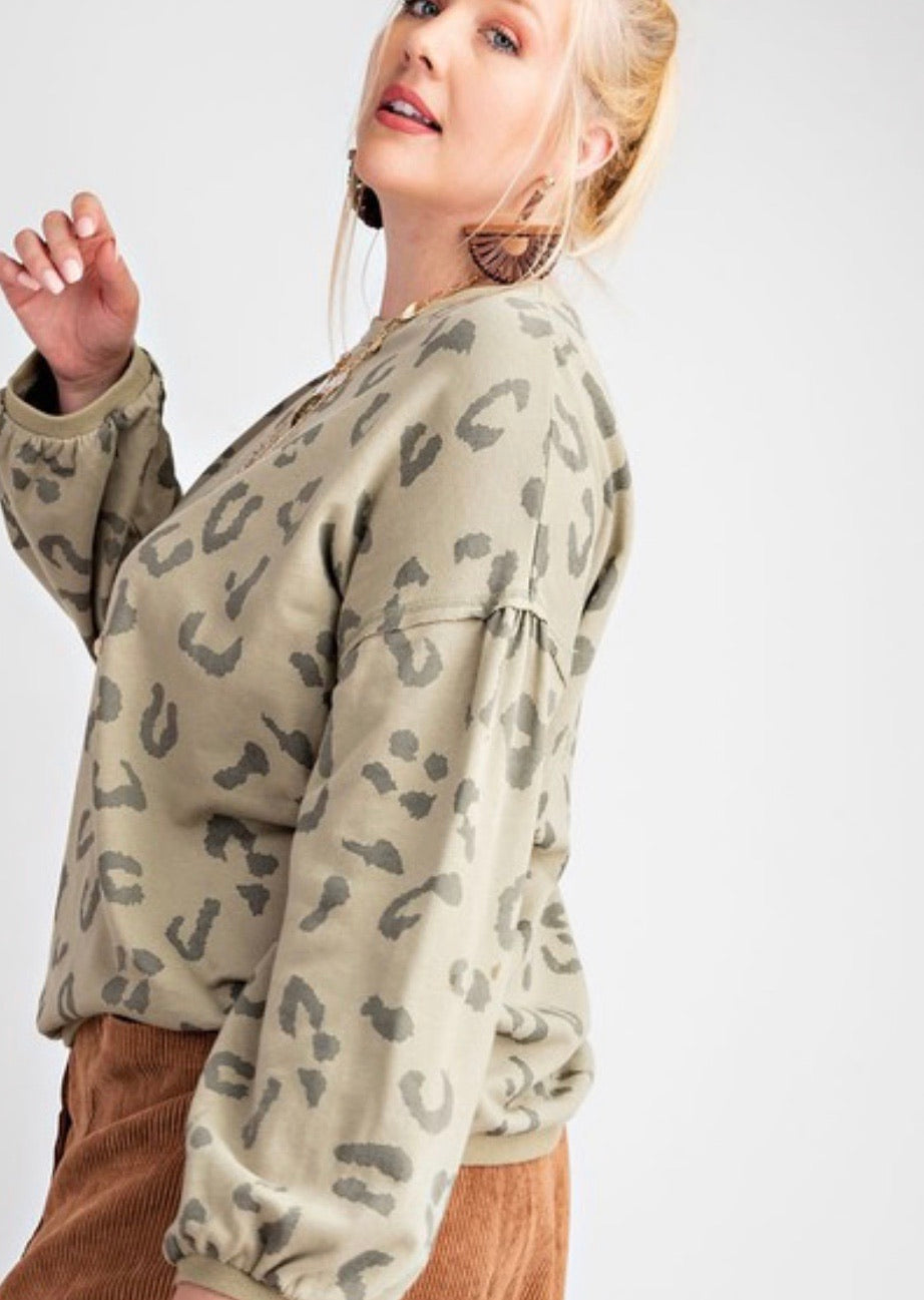 Sage grey leopard print terry top with bubble sleeve
