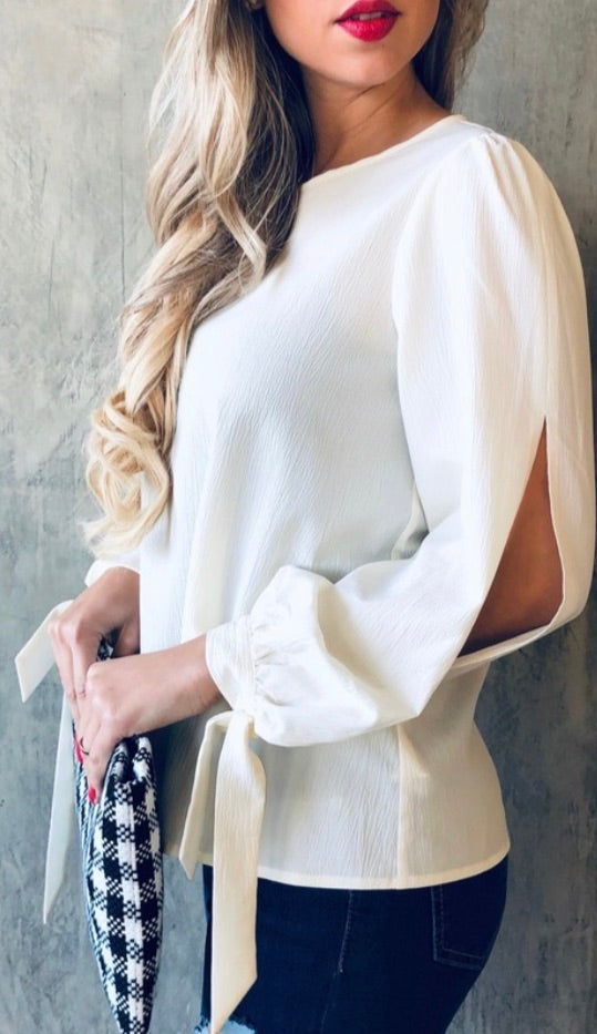Casual Ivory Top with slit-sleeve | Cheeky Cactus