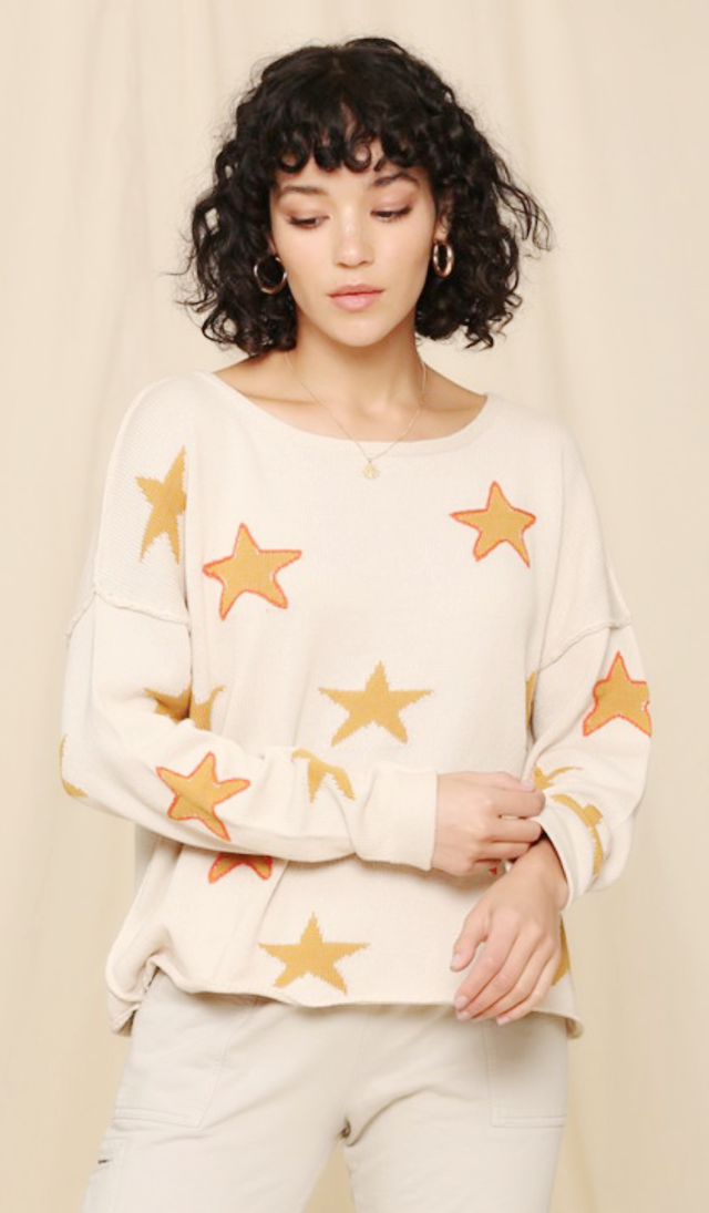 Star Boho Sweater with stitching outline detail | Cheeky Cactus