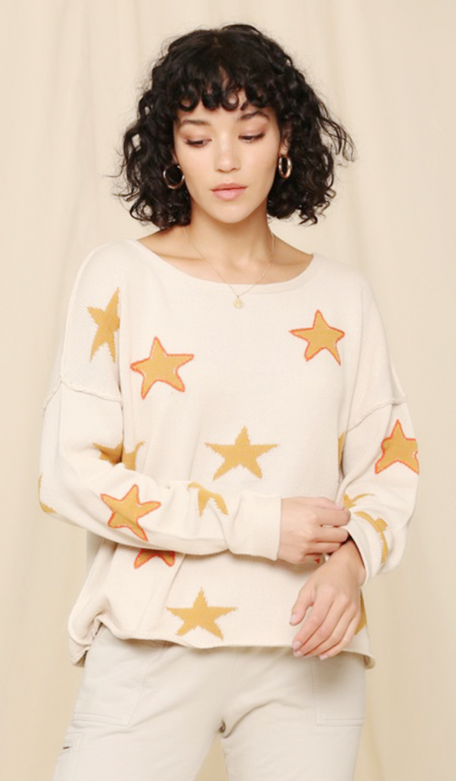 Star Boho Sweater with stitching outline detail - Cheeky Cactus