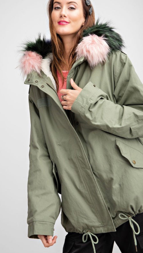 Military loose fit bomber coat with removable fur collar | Cheeky Cactus