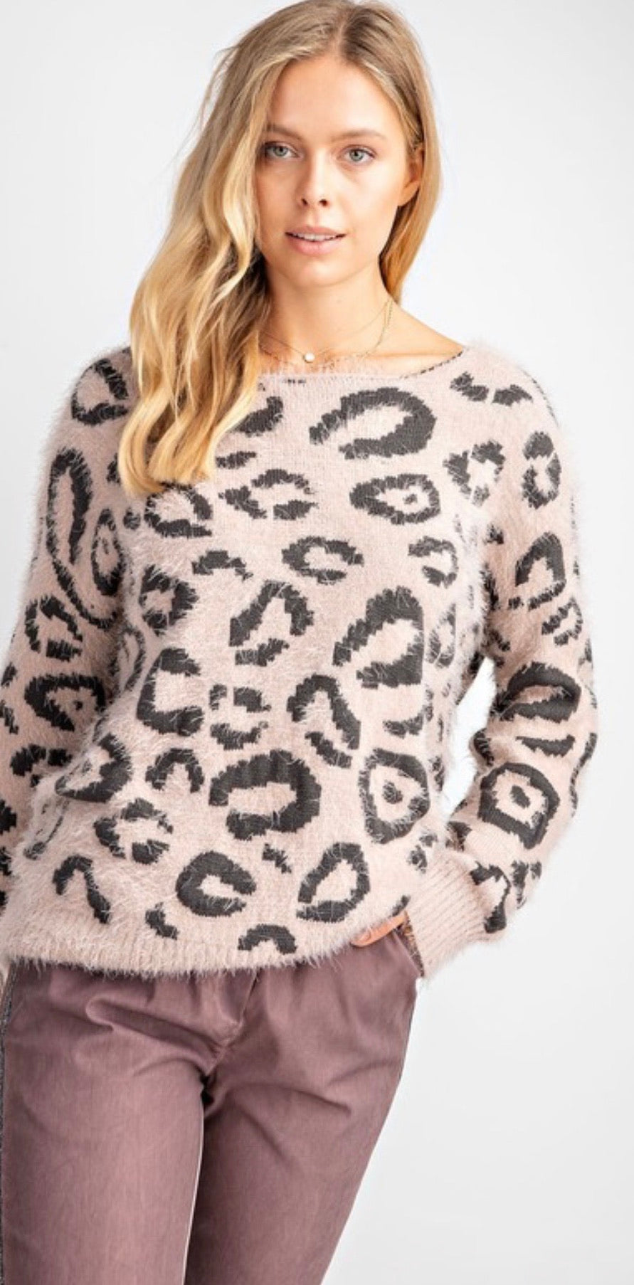 Leopard Knitted Sweater with Twist Feature Back | Cheeky Cactus