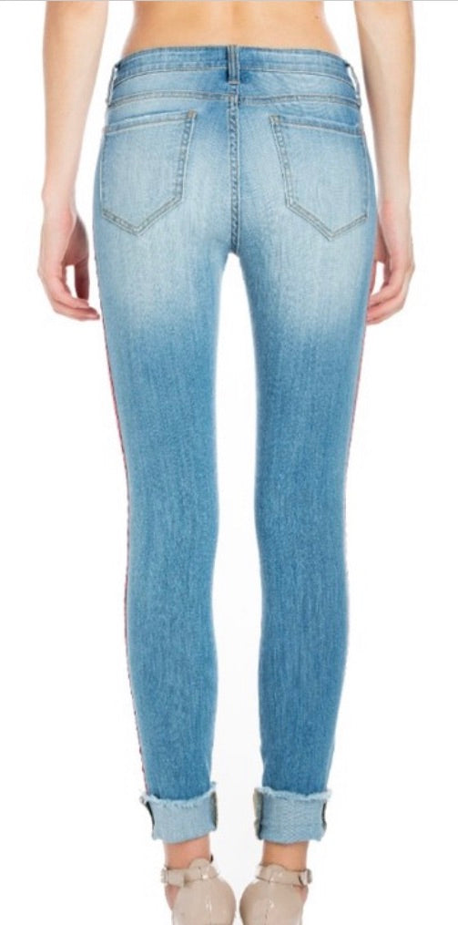 Mid Rise Medium Denim Jeans with Red Racer Strip | Cheeky Cactus