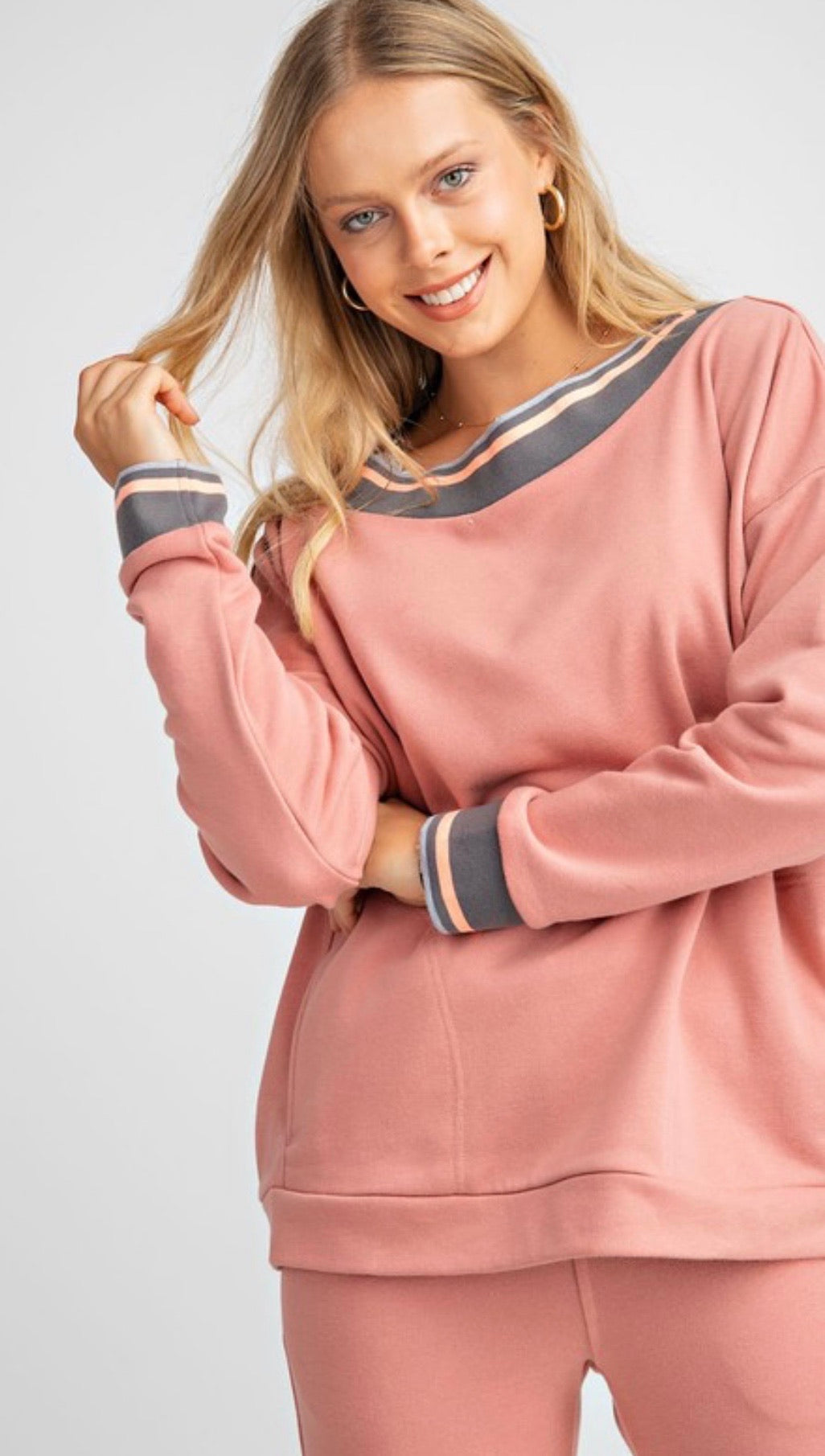 Rib band off the shoulder terry knit top