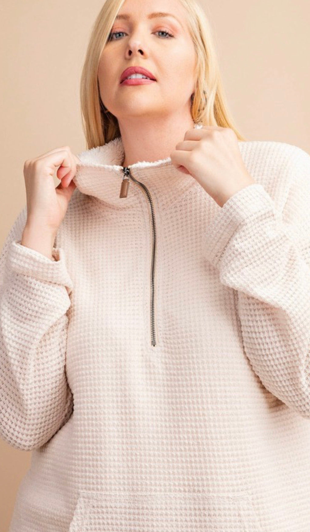 Reversible textured knit top with front zipper | Cheeky Cactus