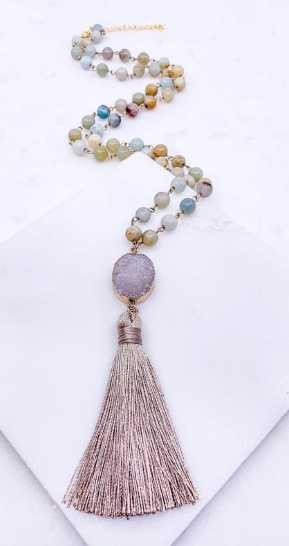 Stone tassel necklace on a semi precious stone beaded necklace | Cheeky Cactus