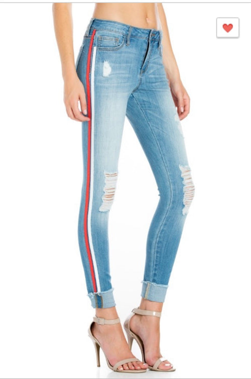 Mid Rise Medium Denim Jeans with Red Racer Strip - Cheeky Cactus